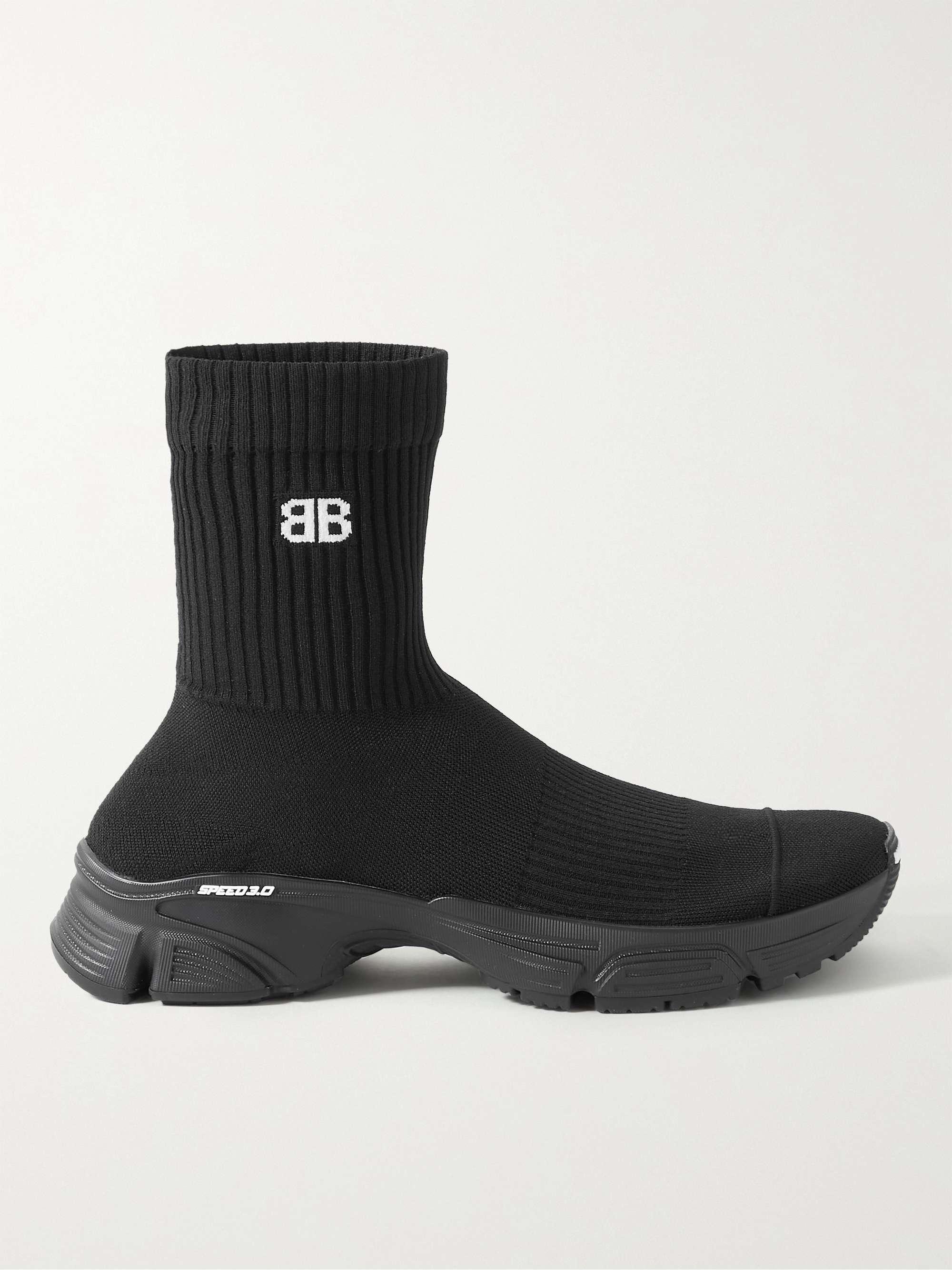 발렌시아가 스피드러너 3.0 남성용 - 블랙 Balenciaga Speed 3.0 Logo-Jacquard Stretch-Knit Slip-On Sneakers,Black