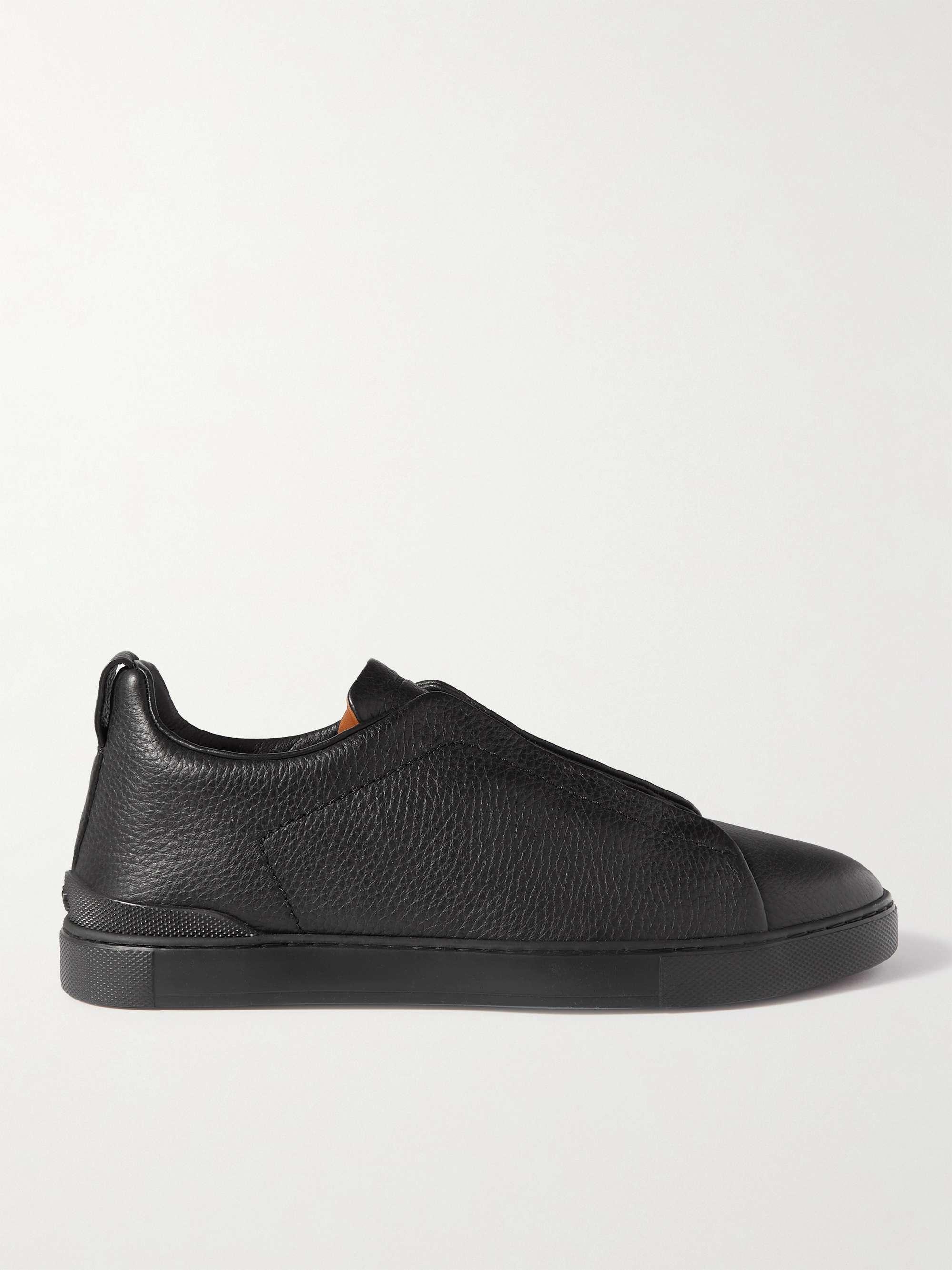 제냐 슬립온 스니커즈, 그레인 가죽 - 블랙 ('갯마을 차차차' 김선호 착용 다른 컬러) Zegna Full-Grain Leather Slip-On Sneakers,Black