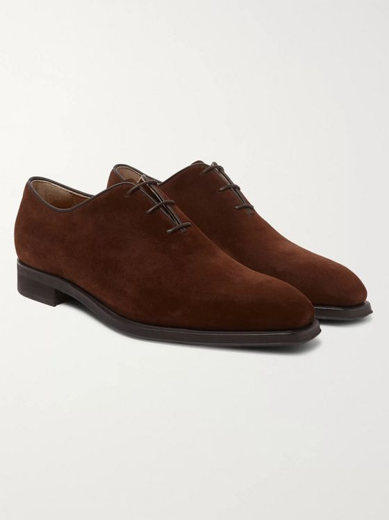 BERLUTI Alessandro Infini Leather-Trimmed Suede Oxford Shoes