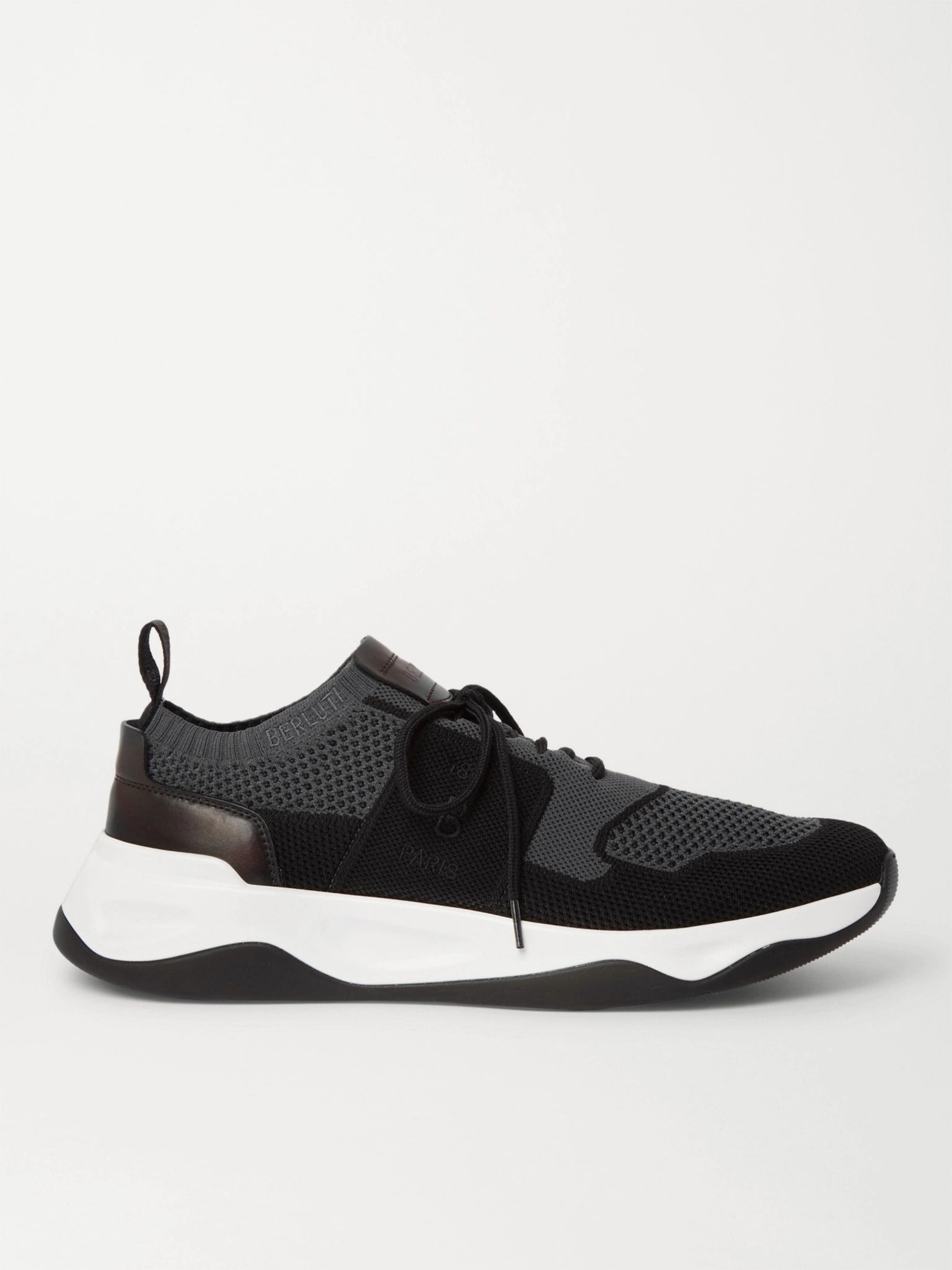 Berluti Shadow Leather-Trimmed Stretch-Knit Sneakers