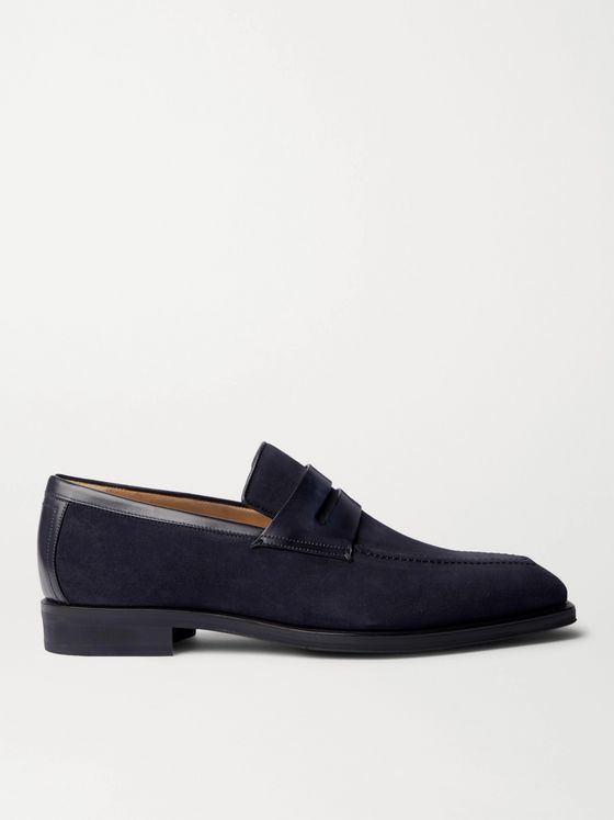 BERLUTI Leather-Trimmed Suede Penny Loafers