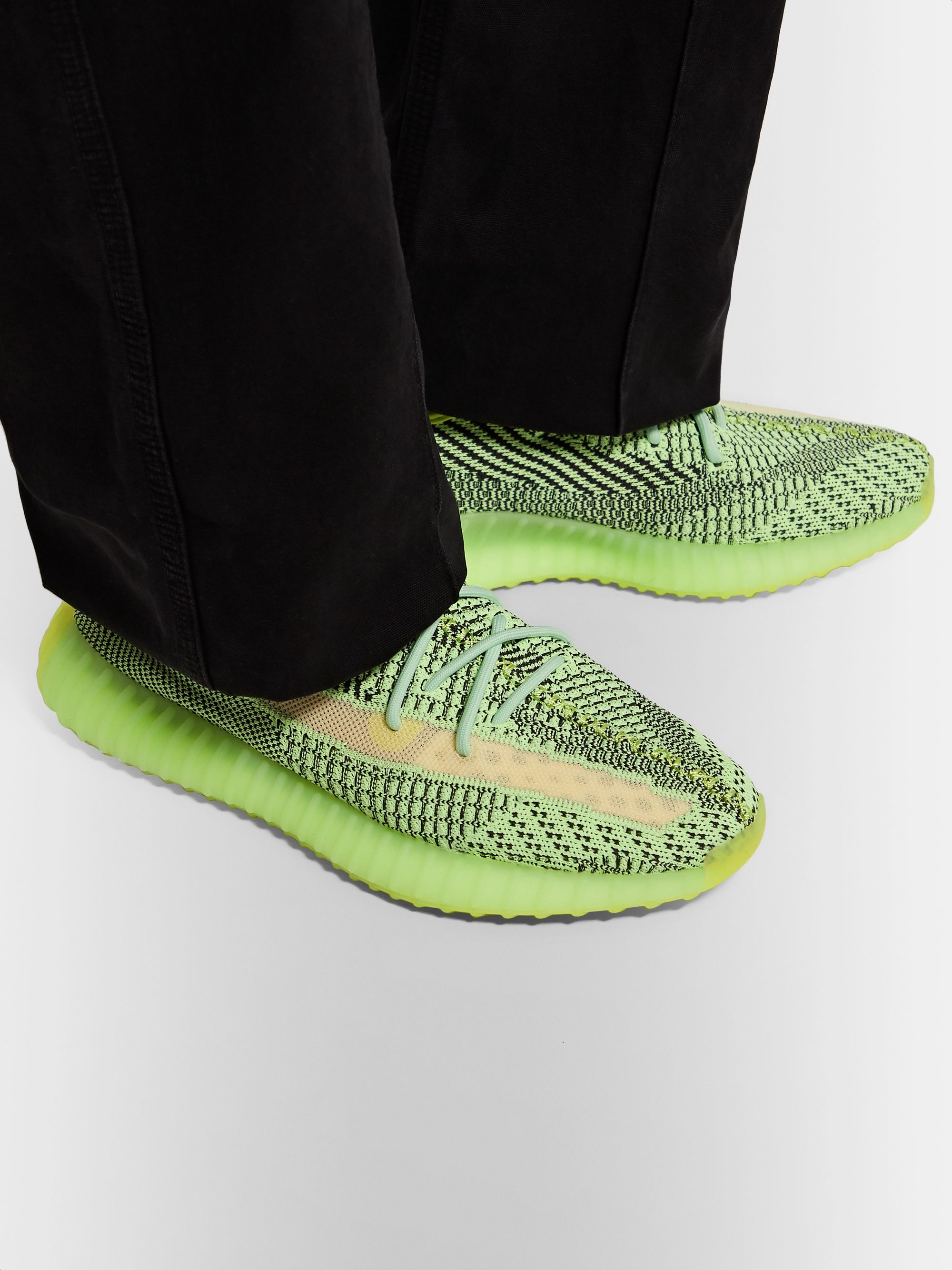 adidas Originals Yeezy Boost 350 V2 Glow-in-the-Dark Primeknit and Mesh Sneakers