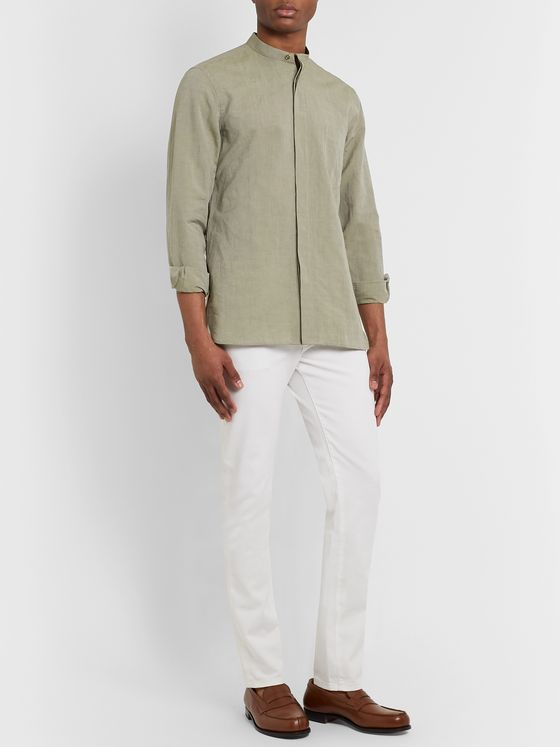 Paul Smith Slim-Fit Grandad-Collar Cotton and Linen-Blend Shirt