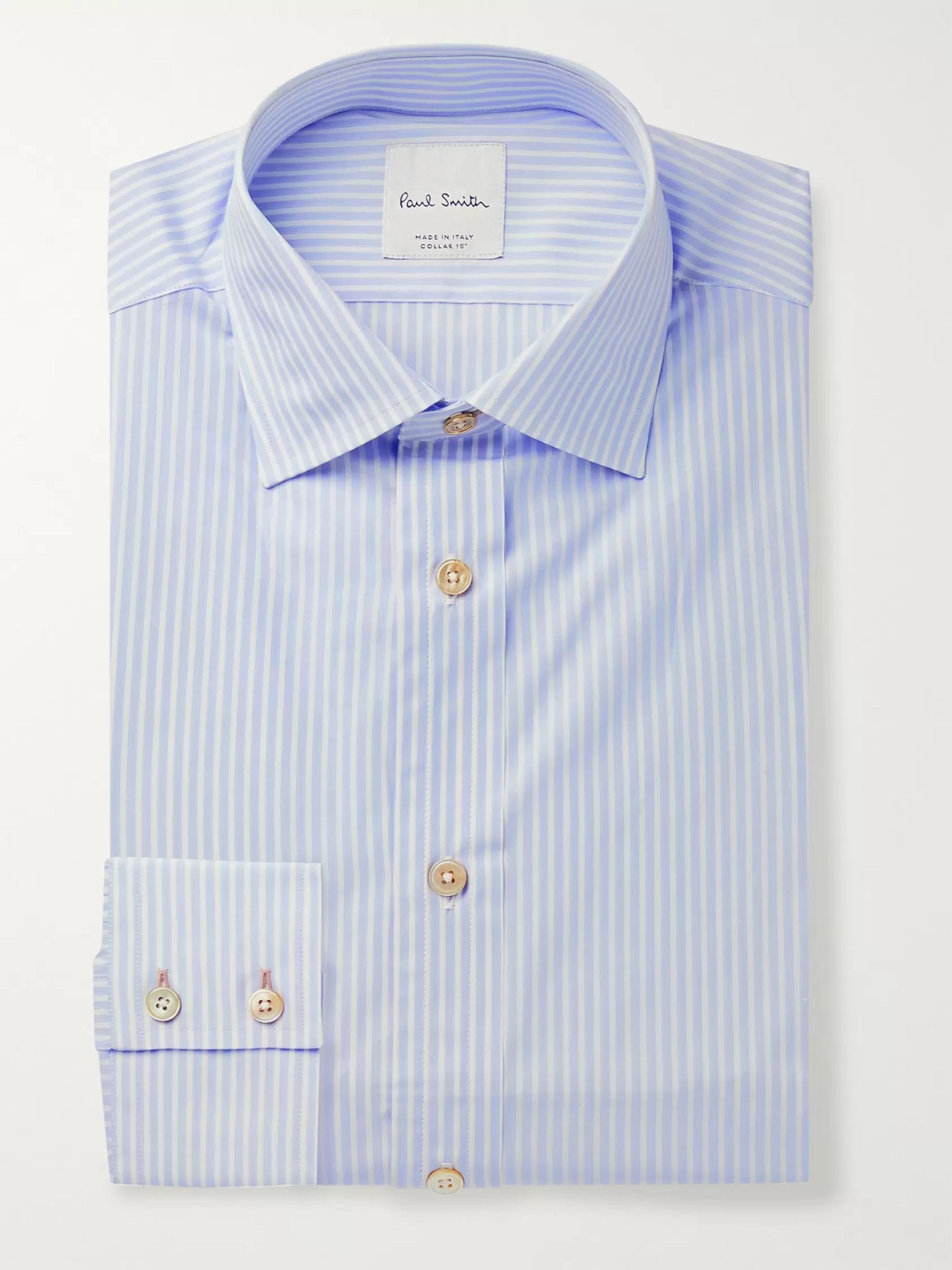 Paul Smith Slim-Fit Cutaway-Collar Striped Cotton-Poplin Shirt