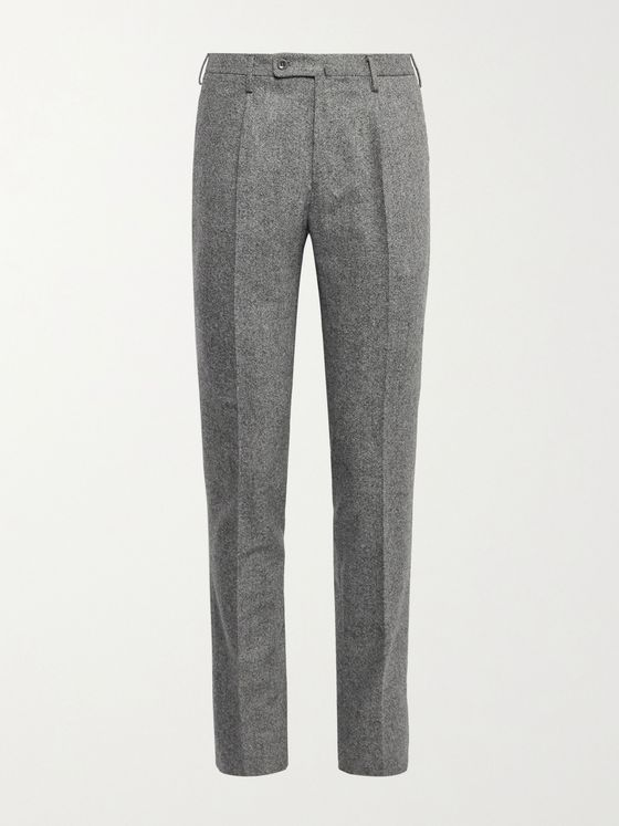 INCOTEX Slim-Fit Pleated Stretch-Wool Tweed Trousers