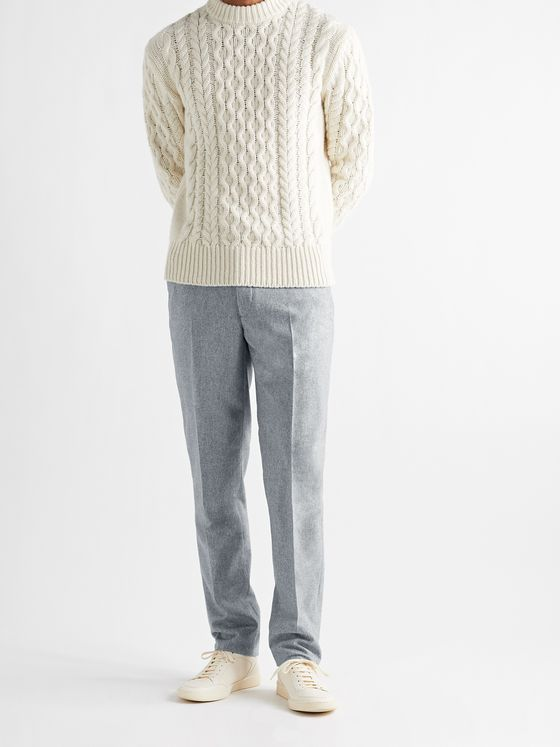 INCOTEX Slim-Fit Mélange Wool Trousers