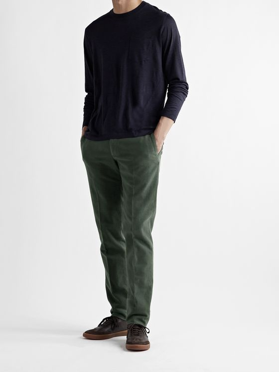 INCOTEX Slim-Fit Stretch-Cotton Moleskin Trousers
