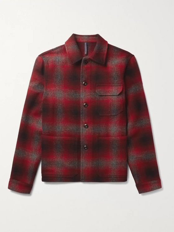 Incotex Checked Wool-Twill Overshirt