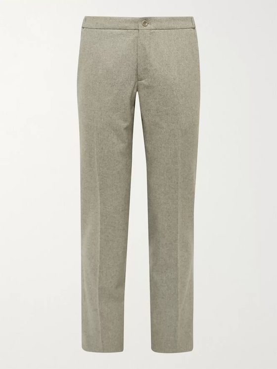 INCOTEX Slim-Fit Mélange Virgin Wool Trousers