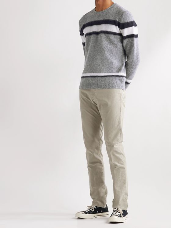 Incotex Striped Brushed Virgin Wool Sweater