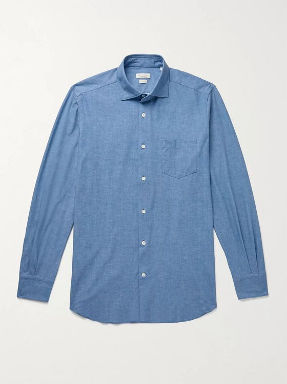 INCOTEX Fellini Slim-Fit Stretch-Chambray Shirt