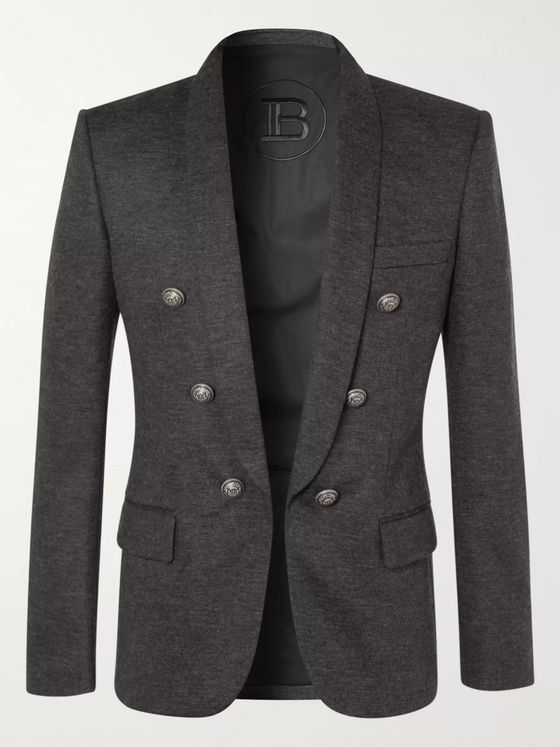 Balmain Slim-Fit Mélange Wool-Blend Blazer