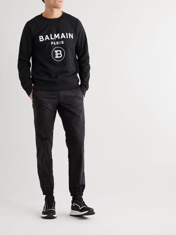 Balmain Logo-Flocked Loopback Cotton-Jersey Sweatshirt