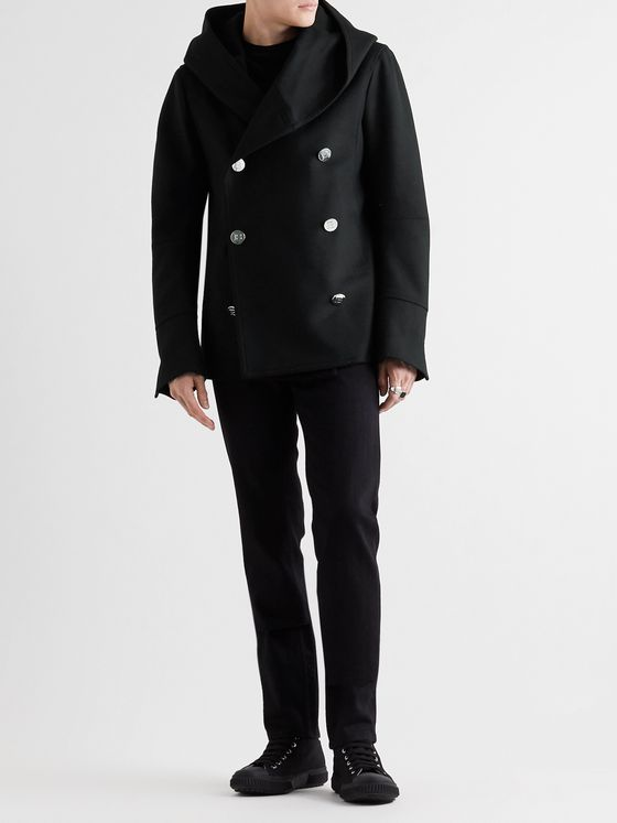 Balmain Wool-Blend Hooded Peacoat