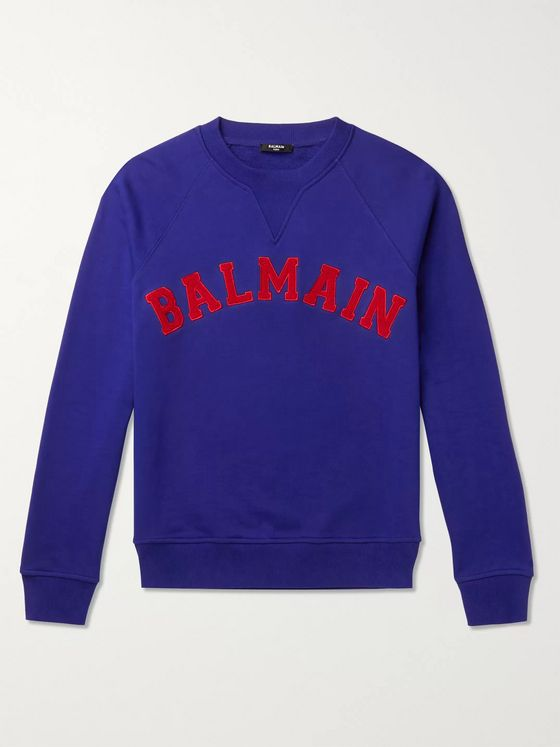 Balmain Logo-Appliquéd Loopback Cotton-Jersey Sweatshirt
