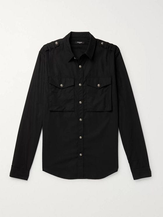 Balmain Slim-Fit Logo-Print Cotton-Twill Shirt