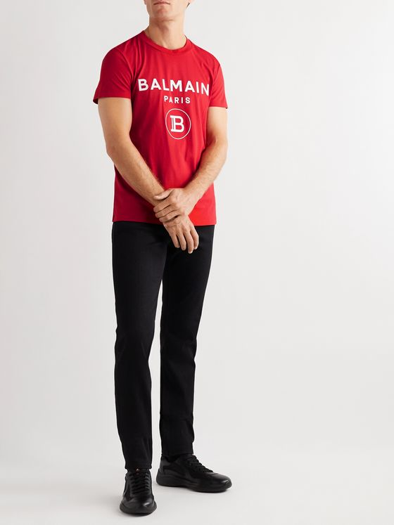 Balmain Slim-Fit Logo-Flocked Cotton-Jersey T-Shirt
