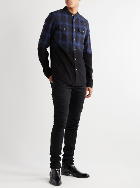 Balmain Slim-Fit Grandad-Collar Distressed Dip-Dyed Checked Cotton-Flannel Shirt