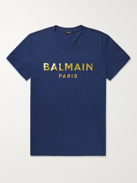 Balmain Slim-Fit Metallic Logo-Print Cotton-Jersey T-Shirt
