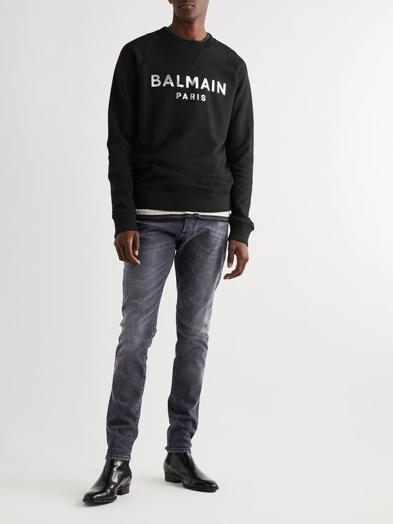 Balmain Slim-Fit Metallic Logo-Print Loopback Cotton-Jersey Sweatshirt