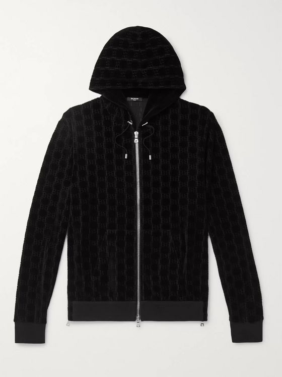Balmain Slim-Fit Logo-Jacquard Cotton-Blend Velvet Zip-Up Hoodie