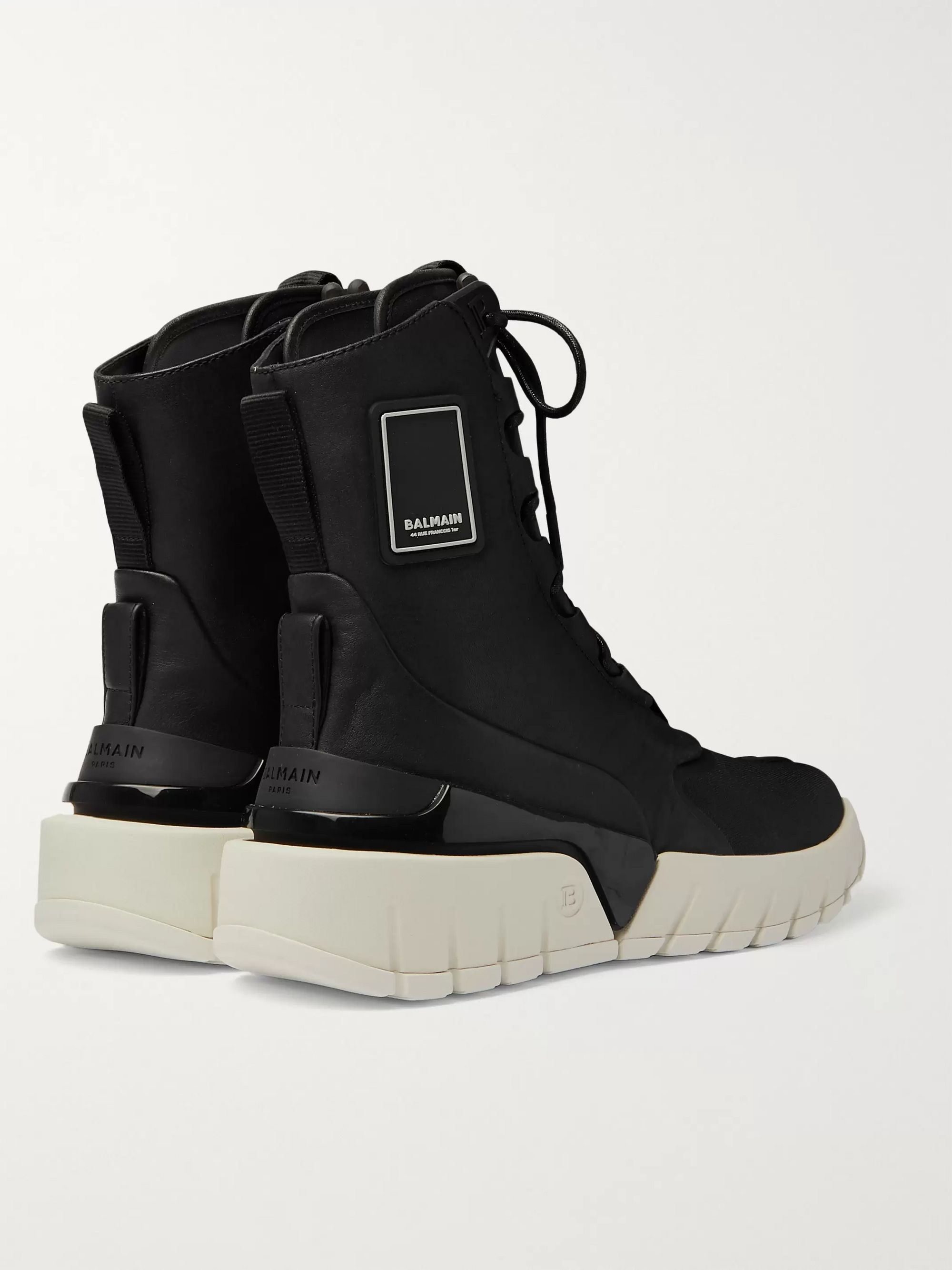 Black B-army Leather And Canvas High-top Sneakers | Balmain