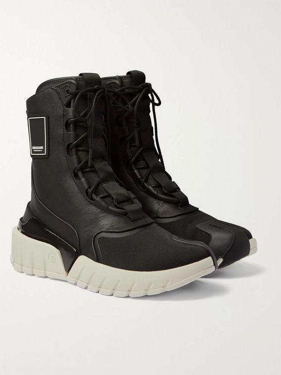 Balmain B-Army Leather and Canvas High-Top Sneakers