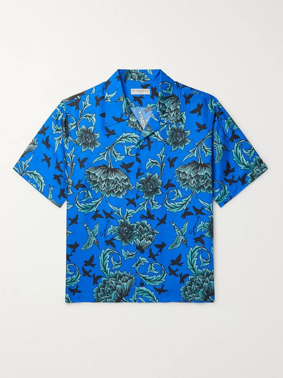 Givenchy Camp-Collar Printed Silk Shirt