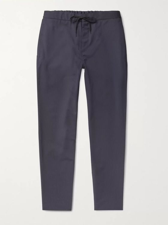 A.P.C. Etienne Tapered Pinstriped Virgin Wool Drawstring Trousers