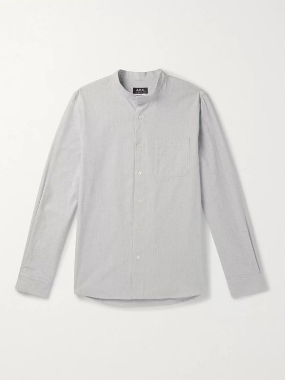 A.P.C. Mark Grandad-Collar Striped Cotton Shirt