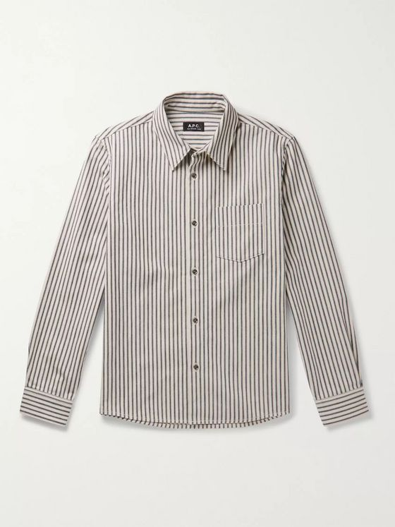 A.P.C. Victor Striped Cotton-Twill Overshirt