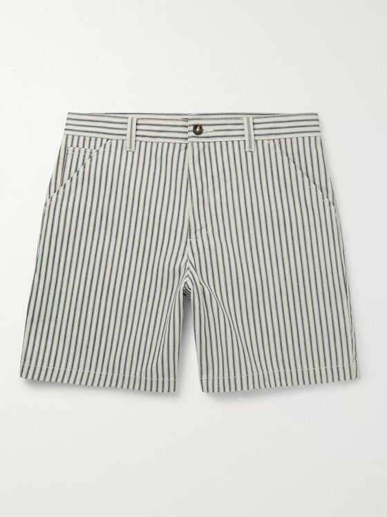 A.P.C. Andy Striped Cotton-Twill Shorts