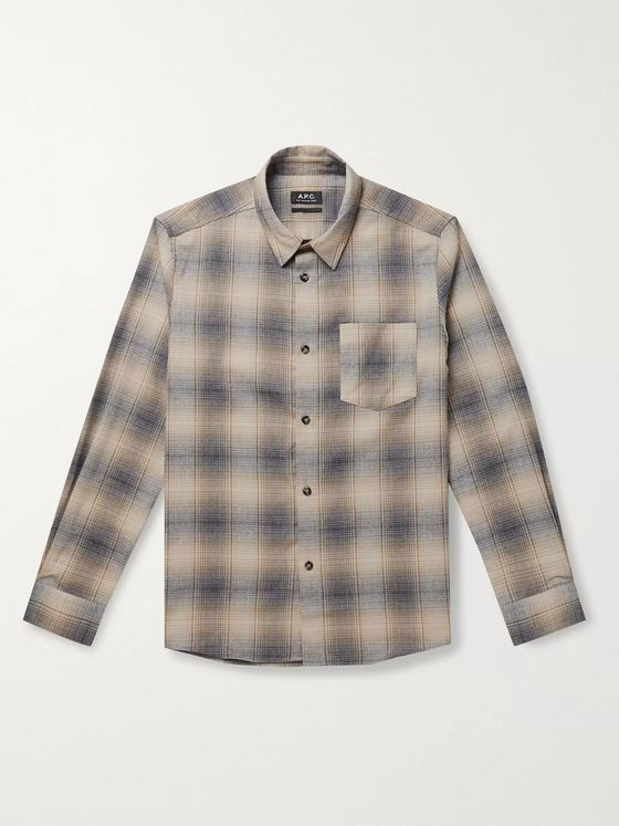 A.P.C. John Checked Cotton-Flannel Shirt