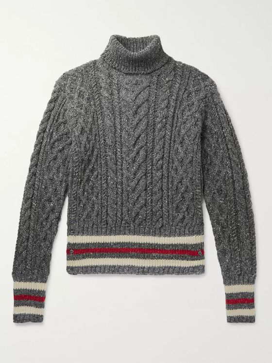 Thom Browne Striped Cable-Knit Mélange Wool and Mohair-Blend Rollneck Sweater