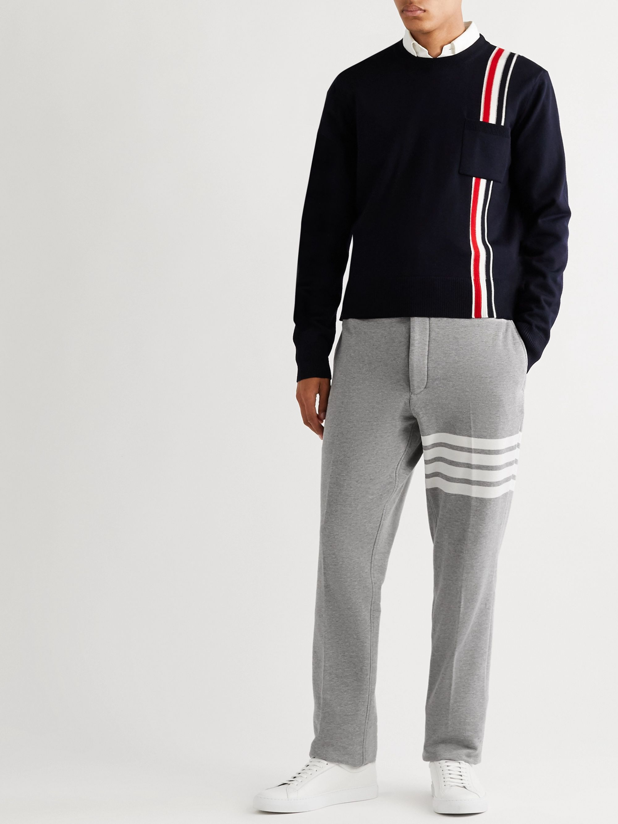 Navy Striped Merino Wool Sweater | Thom Browne | MR PORTER