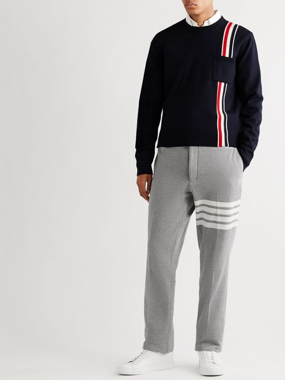 Thom Browne Striped Loopback Cotton-Jersey Trousers