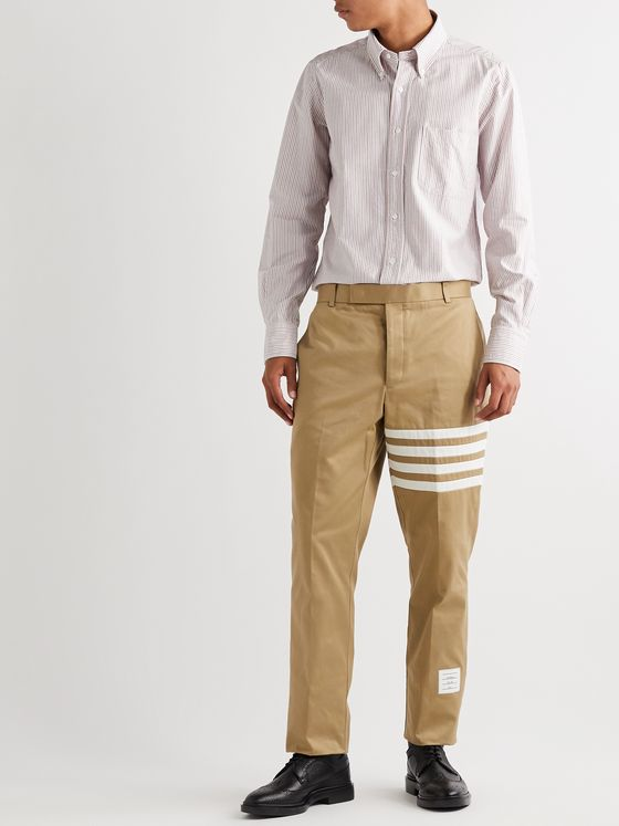 Thom Browne Button-Down Collar Appliquéd Striped Cotton Oxford Shirt