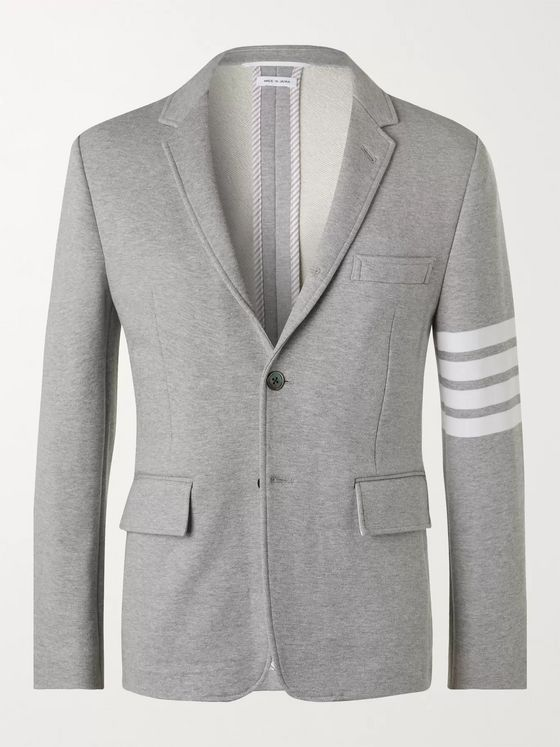THOM BROWNE Striped Melangé Cotton Blazer