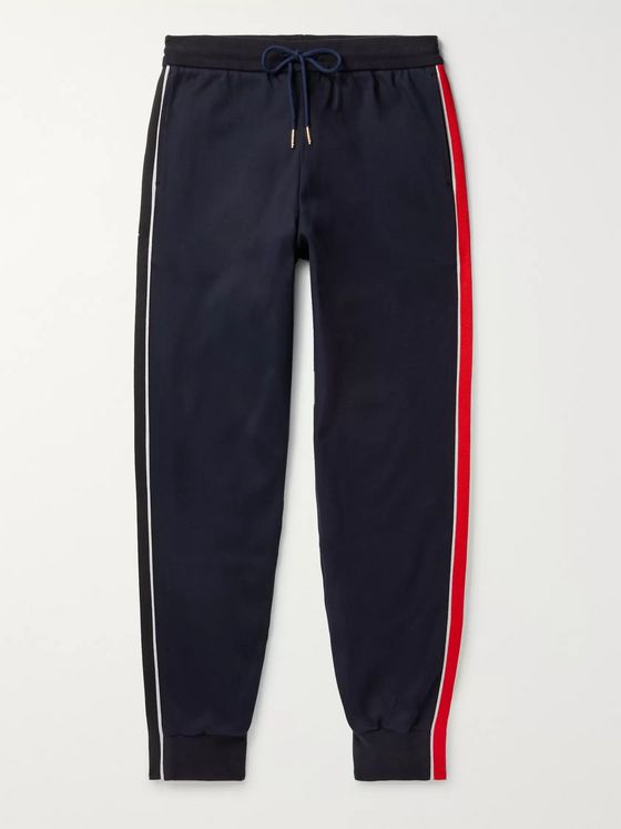 THOM BROWNE Tapered Grosgrain-Trimmed Striped Cotton-Jersey Sweatpants