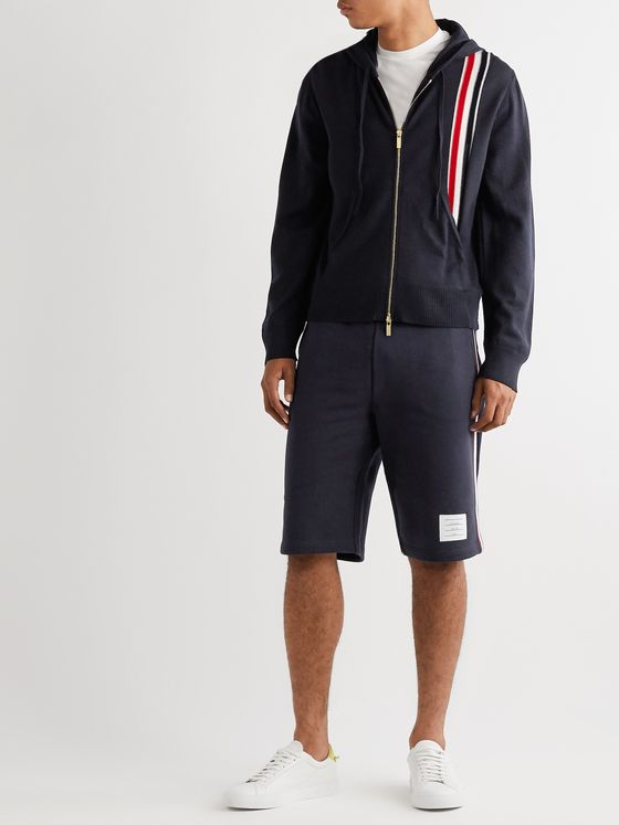Thom Browne Striped Grosgrain-Trimmed Merino Wool Zip-Up Hoodie
