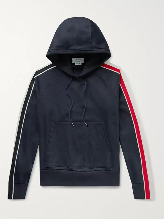 Thom Browne Striped Grosgrain-Trimmed Cotton-Jersey Hoodie