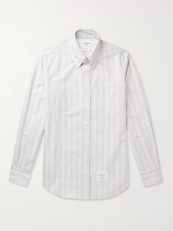Thom Browne Button-Down Collar Appliquéd Striped Supima Cotton Oxford Shirt