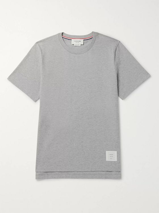 Thom Browne Grosgrain-Trimmed Mélange Cotton-Jersey T-Shirt