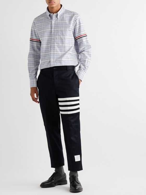 Thom Browne Button-Down Collar Appliquéd Grosgrain-Trimmed Checked Supima Cotton Oxford Shirt