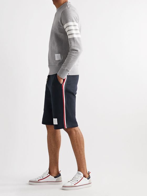 Thom Browne Striped Grosgrain-Trimmed Loopback Cotton-Jersey Shorts