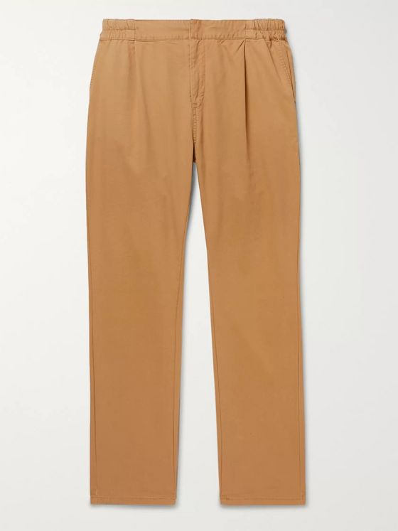 Remi Relief Pleated Cotton and Tencel-Blend Twill Chinos