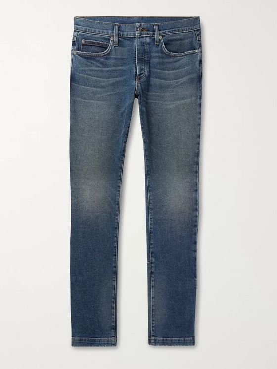 Rhude Skinny-Fit Snap-Detailed Denim Jeans