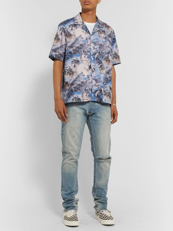 Rhude Slim-Fit Distressed Paint-Splattered Denim Jeans