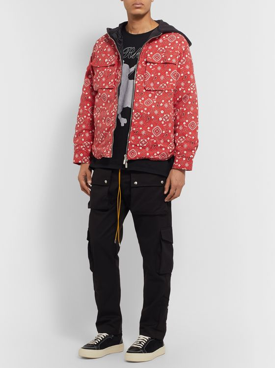 Rhude Jersey-Trimmed Bandana-Print Cotton-Twill Hooded Jacket