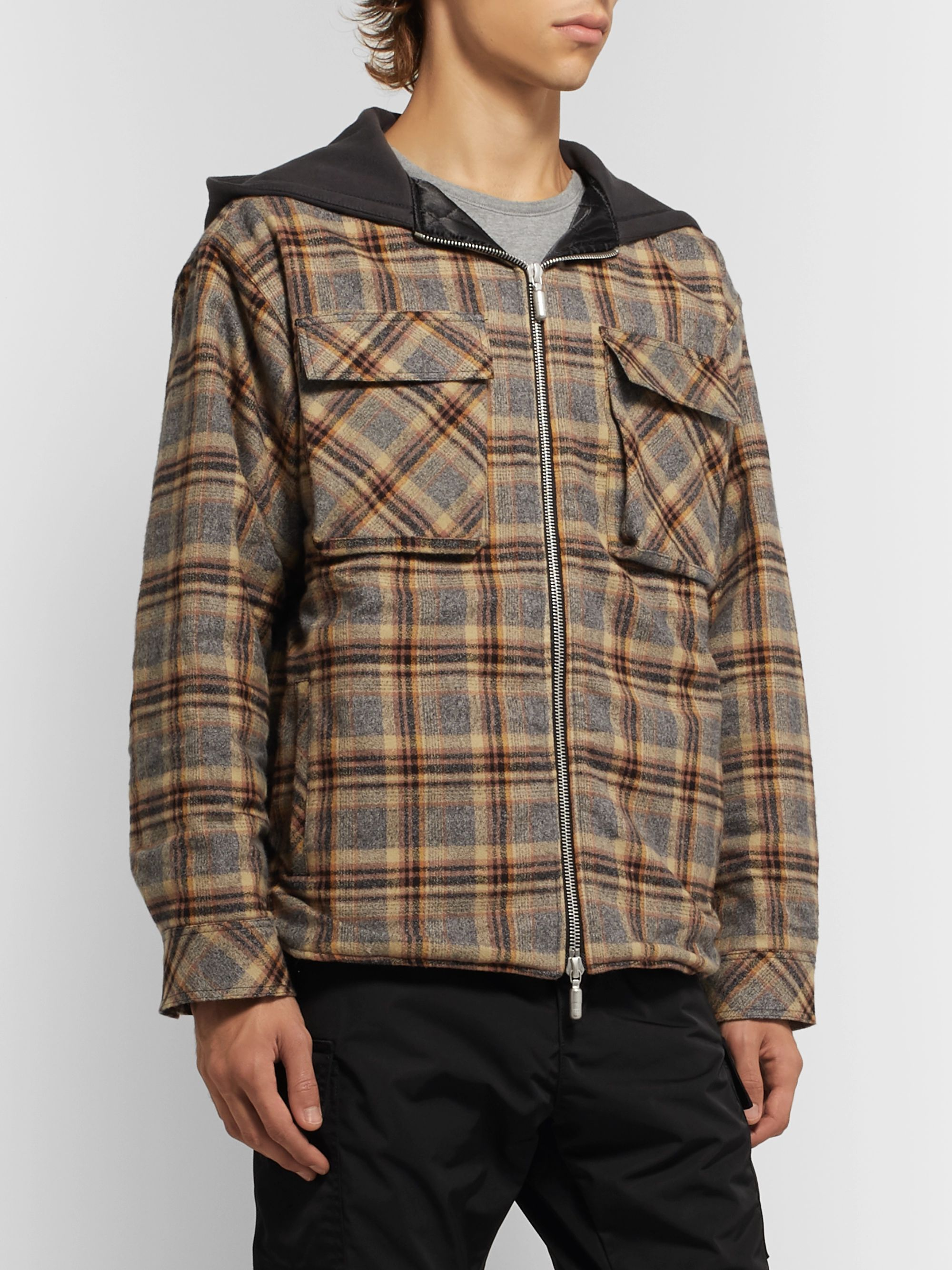 Rhude Jersey-Trimmed Checked Cotton-Flannel Hooded Jacket